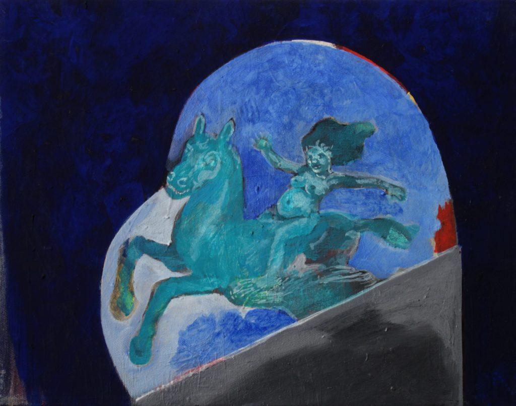 Schwangere auf Pegasus, Skulpturentwurf 38x49 2015