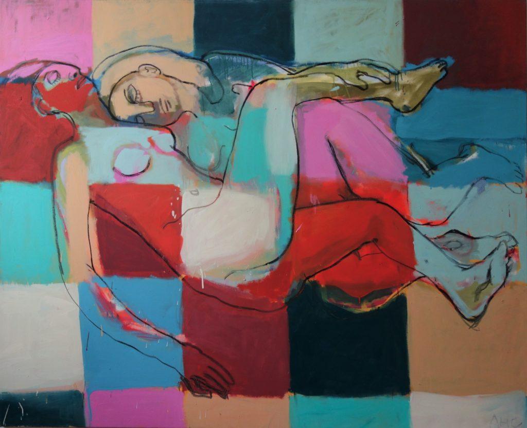 Erster Ateliersommer mit Courbet und Scully 130x160 2001